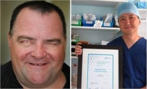 But surgeons were able to save the right eye, even though he was unable to see through it. At first specialists in Nottingham tried to save his sight using stem cells from a donor but the attempt fa