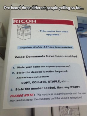 4. Voice Command Activated Copy Machine - Funny Pictures with Caption