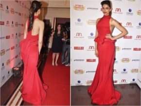 Deepika Padukone Amazing look in Red with new bun hairstyle