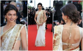 Deepika padukone  at cannes festival in white saree