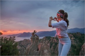 Deepika Padukone clicks a picture of Ranbir during the Tamasha shoot in Corsica.