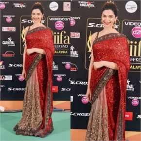 Deepika Padukone Dreesed Red Hot in saree for IIFA Awards