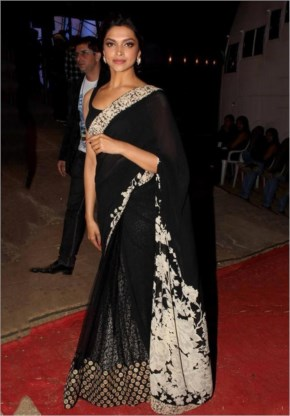 Deepika padukone in black saree at party