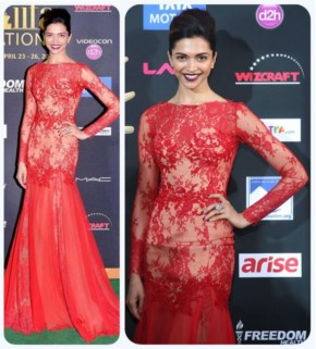 Deepika Padukone in Reddish Hot Dress with a wide smile