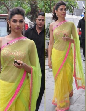 Deepika padukone  in yellow saree