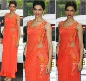 Deepika Padukone Looks sexy in Orange saree