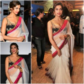 Deepika padukone  looks sexy in white saree at promotional event