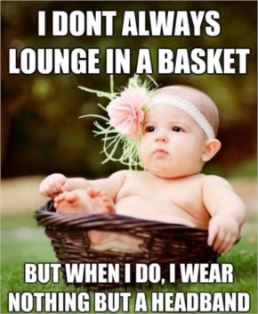 Funny baby in the basket