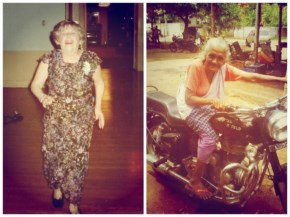 Funny Grandma having ride on a bike and going on a long Drive