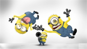 Funny Minions in the air