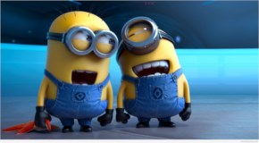 Funny Minions playing in space