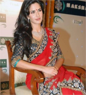 Gorgeous katrina kaif  looks hot  and sexy in red saree