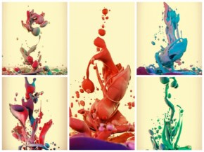High Speed Photographs of Ink Mixing with Oil