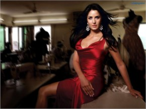 hot ieee katrina kaif  with black hair and red dress