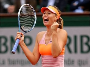 Maria Sharapova in her 2012 Roland Garros Nike outfit, and Head racquet