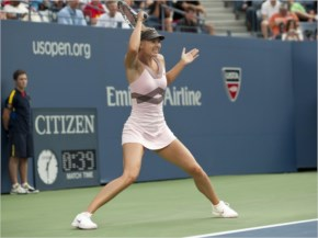 Maria Sharapova in Pink Tennis Outfit