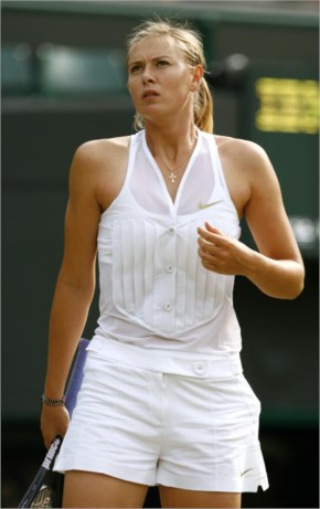 Maria Sharapova with tennis racket and sexy white dress