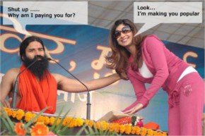 Shilpa having a blessing from Ramdev baba
