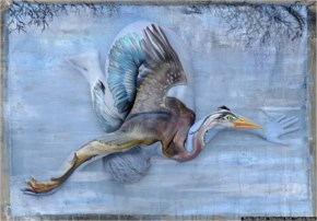 There's more to this beautiful heron than meets the eye. It's actually a human body covered intricately in paint.