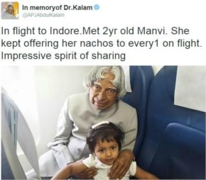When he took a picture with a small girl and sent us a message – 'spirit of sharing'