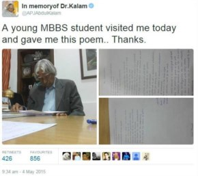 When he took out his time to read the poem and appreciate the student