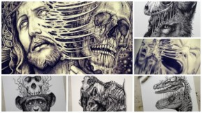 15 Black Ink Art photos with the surrealistic Drawing