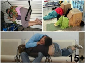 15+ Funny People caught sleeping on Airport