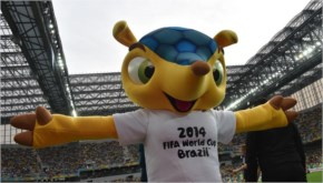 2014 FIFA World Cup mascot, Fuleco poses before a Group H football match between Algeria and Russia at the Baixada Arena in Curitiba during the 2014 FIFA World Cup.