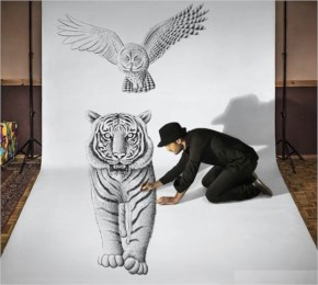 3D Amazing art work of a Tiger and Owl