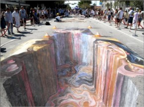 3D Street Art Is Created By Painting