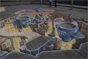 3D street painting by chalk artist Leon Kee