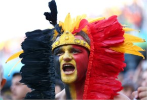 A Belgium fan cheers during the 2014 FIFA World Cup Brazil