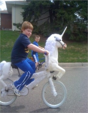 A Boy Rides A Unicorn Bicycles Funny Picture