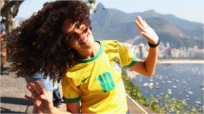 A Brazil fan is seen enjoying the sights