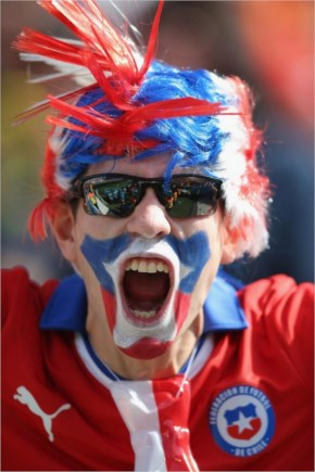 A Chile Fan Cheers During The 2014 FIFA World Cup Brazil Group B Match Between The Netherlands And Chile