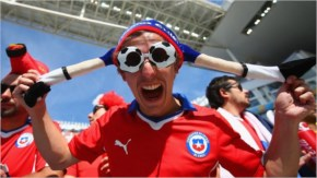 A Chile fan poses prior to the 2014 FIFA World Cup Brazil