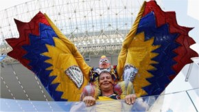 A Colombia fan poses during the 2014 FIFA World Cup Brazil Group C match between Japan and Colombia at Arena Pantanal