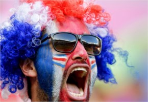 A Costa Rica supporter cheers before the World Cup