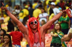 A fan poses during the 2014 FIFA World Cup Brazil
