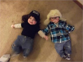 A Funny  and cute picture of babies dressed up as Wayne and Garth from Wayne's World