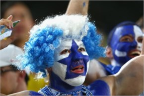 A Honduras fan cheers prior to the 2014 FIFA World Cup Brazil