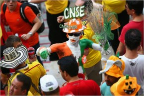 A Japan fan shows support prior to the 2014 FIFA World Cup Brazil