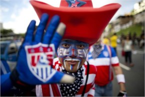 A soccer fan of the United States poses for the picture before World Cup