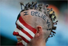 A US fan waits for the beginning of the World Cup