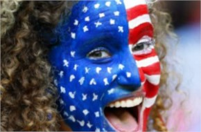 A US supporter cheers during the FIFA World Cup 2014