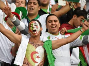 Algeria's fans cheer prior   Germany and Algeria at Beira-Rio Stadium 2014 FIFA World Cup