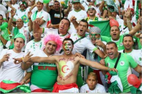 Algeria fans cheer during the 2014 FIFA World Cup Brazil