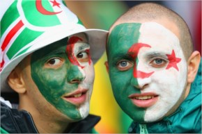 Algeria fans enjoy the atmosphere prior to the 2014 FIFA World Cup Brazil