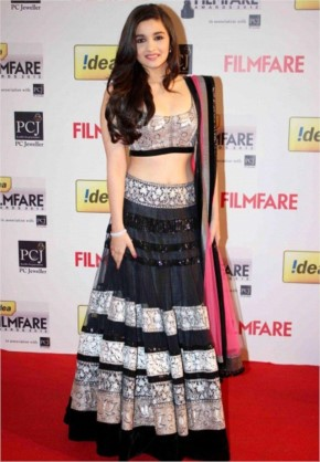 Alia Bhatt looking cute In black Lehenga Choli