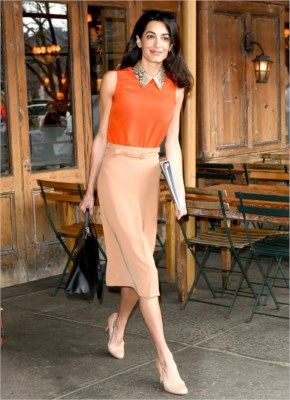 Amal Alamuddin at Morandi in the West Village, NYC on April 7, 2015